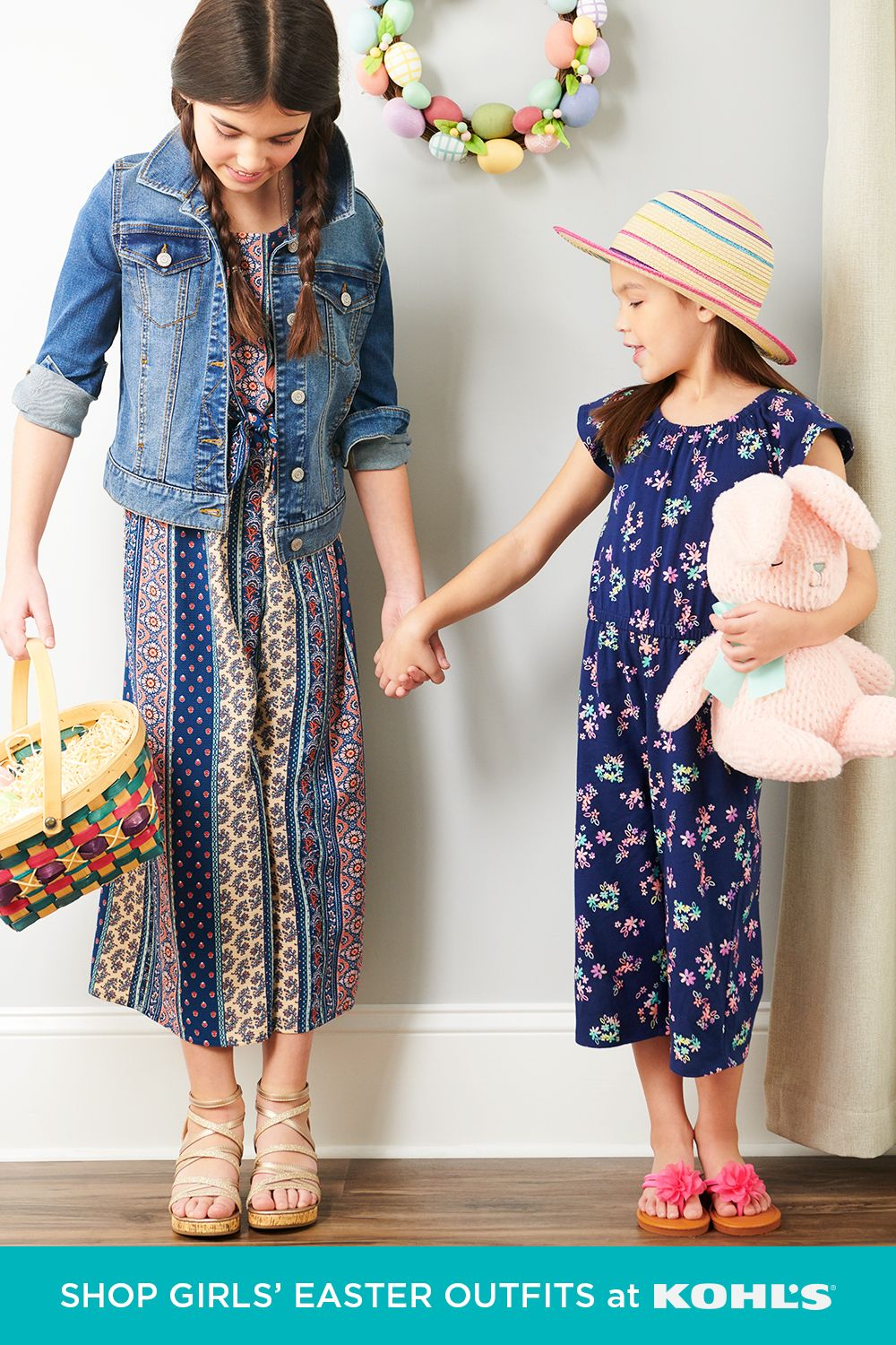 Your girls will be celebrating Easter in style with cute and colorful outfits. Make sure they're able to move and play all day long in a comfy jumpsuit and sandals. Add a denim jacket or sun hat for the sweetest finishing touches! Shop Easter styles and more at Kohl's and Kohls.com. #easter #kidsstyle
