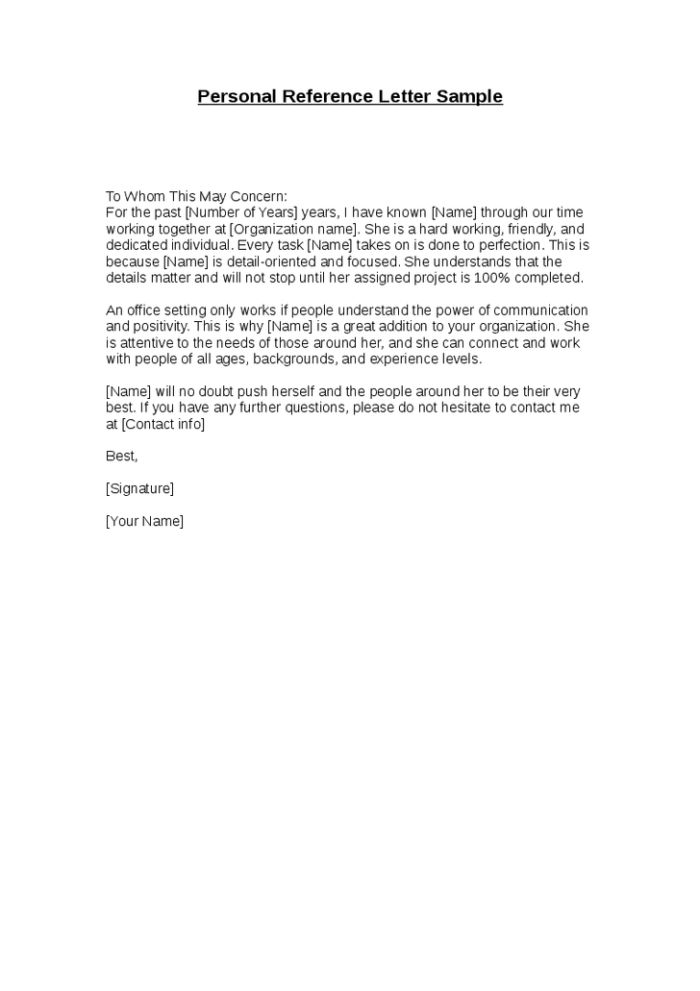 Letter Of Personal Recommendation Sample Personal Letter Of - personal recommendation letter