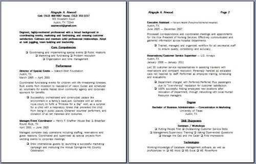 special events coordinator resume