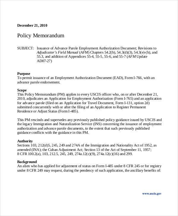 Authorization Memo Sample 10 Best Authorization Letter Samples - policy memo template