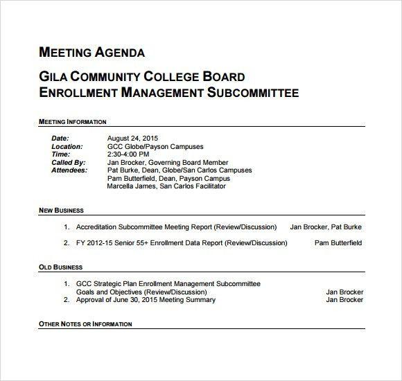 Agenda Of Meeting Format Free Meeting Agenda Template Sample - example of agenda of meeting