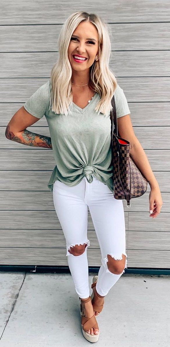 gray crew-neck shirt #summer #outfits