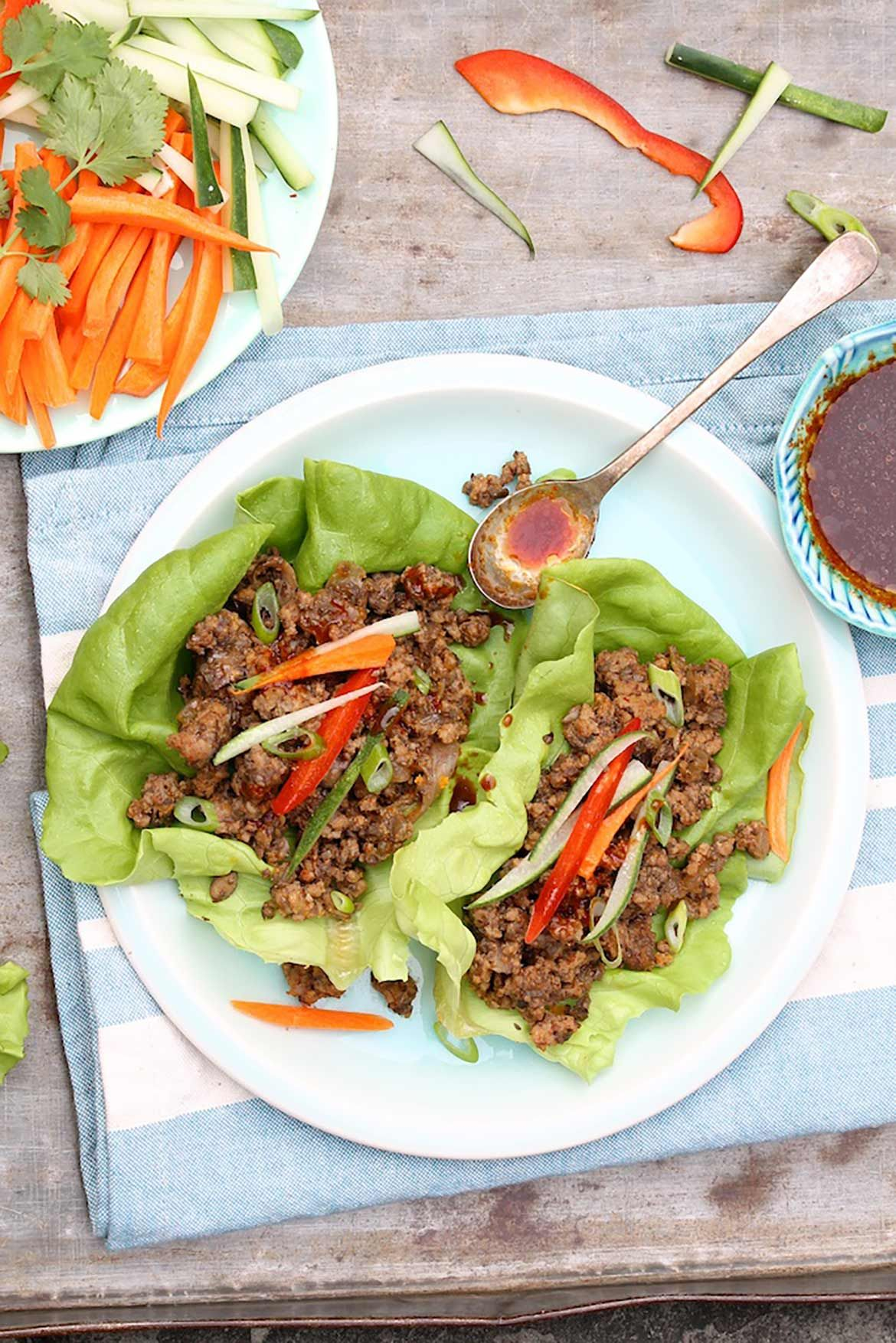 Thai Beef Lettuce Wraps are easy and healthy with a Whole30 option...and they taste so good!