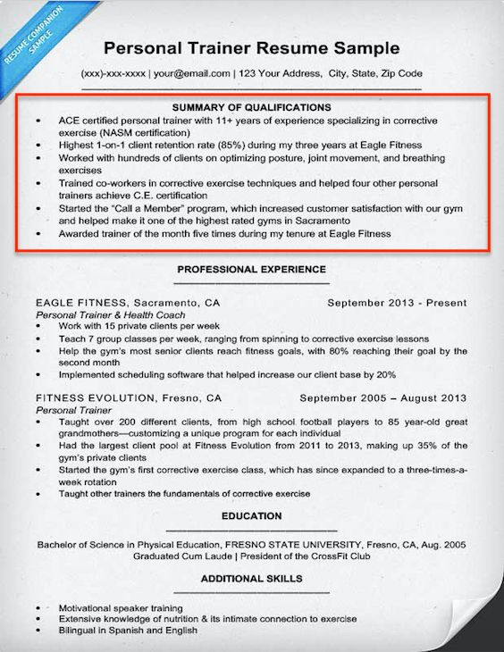 Summary Qualifications Resume Examples - Examples Of Resumes