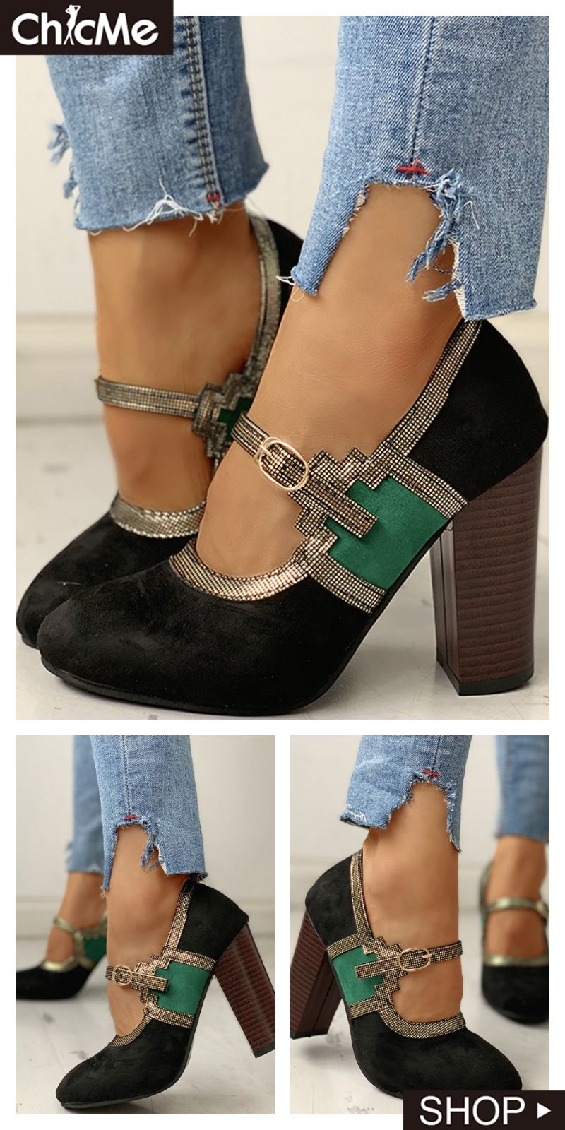 Colorblock Suede Buckled Chunky Sandals