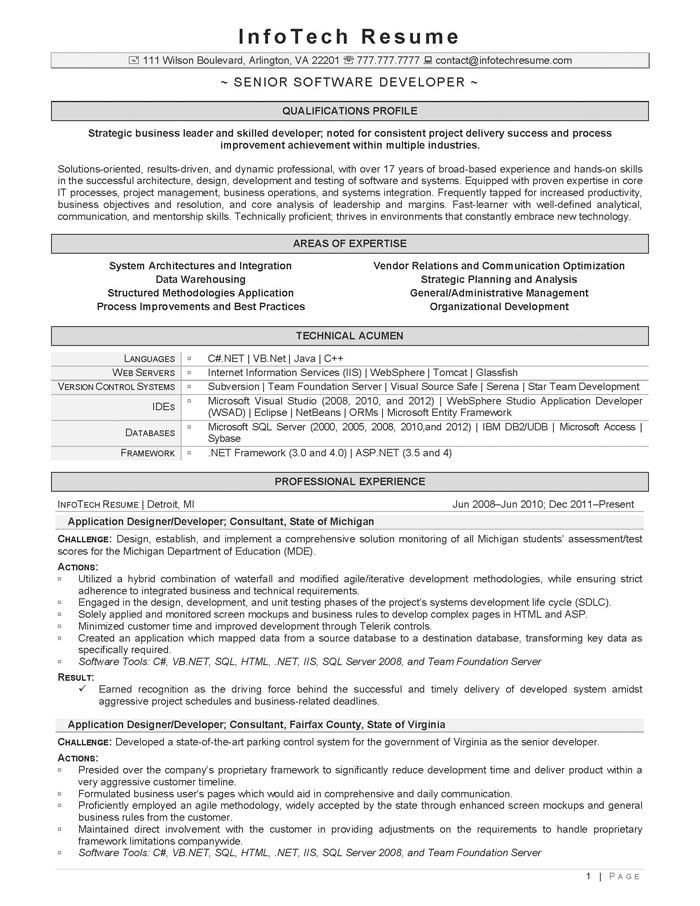 Sample Resume Of Software Developer Software Developer Free - senior software engineer resume