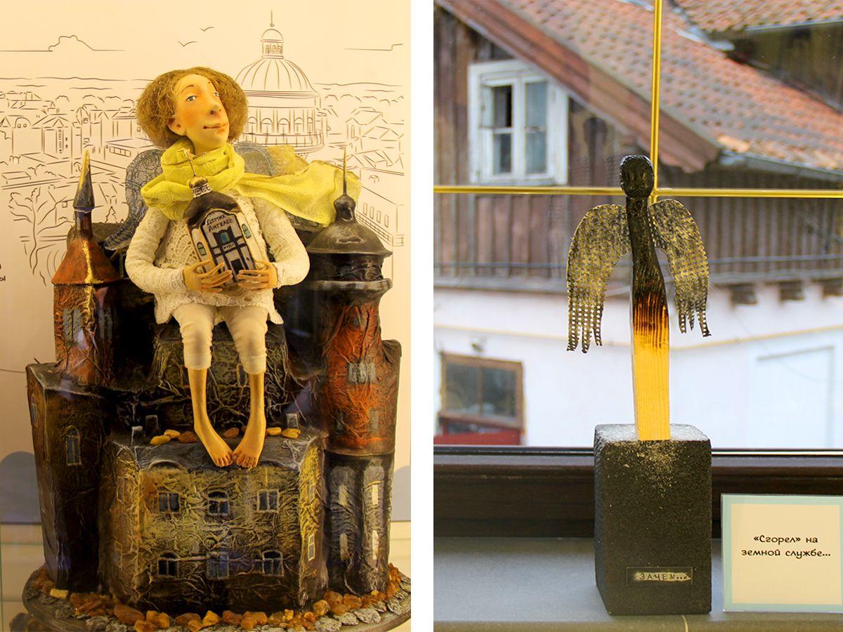 Слева ангел-хранитель Зеленоградска, справа – сгоревший ангел. Фото: Evgenia Shveda