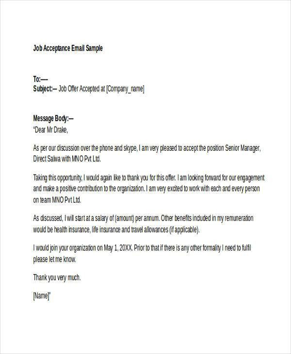 Job Offer Email Sample Sample Thank You Email The Job Offer Susan - sample thank you email