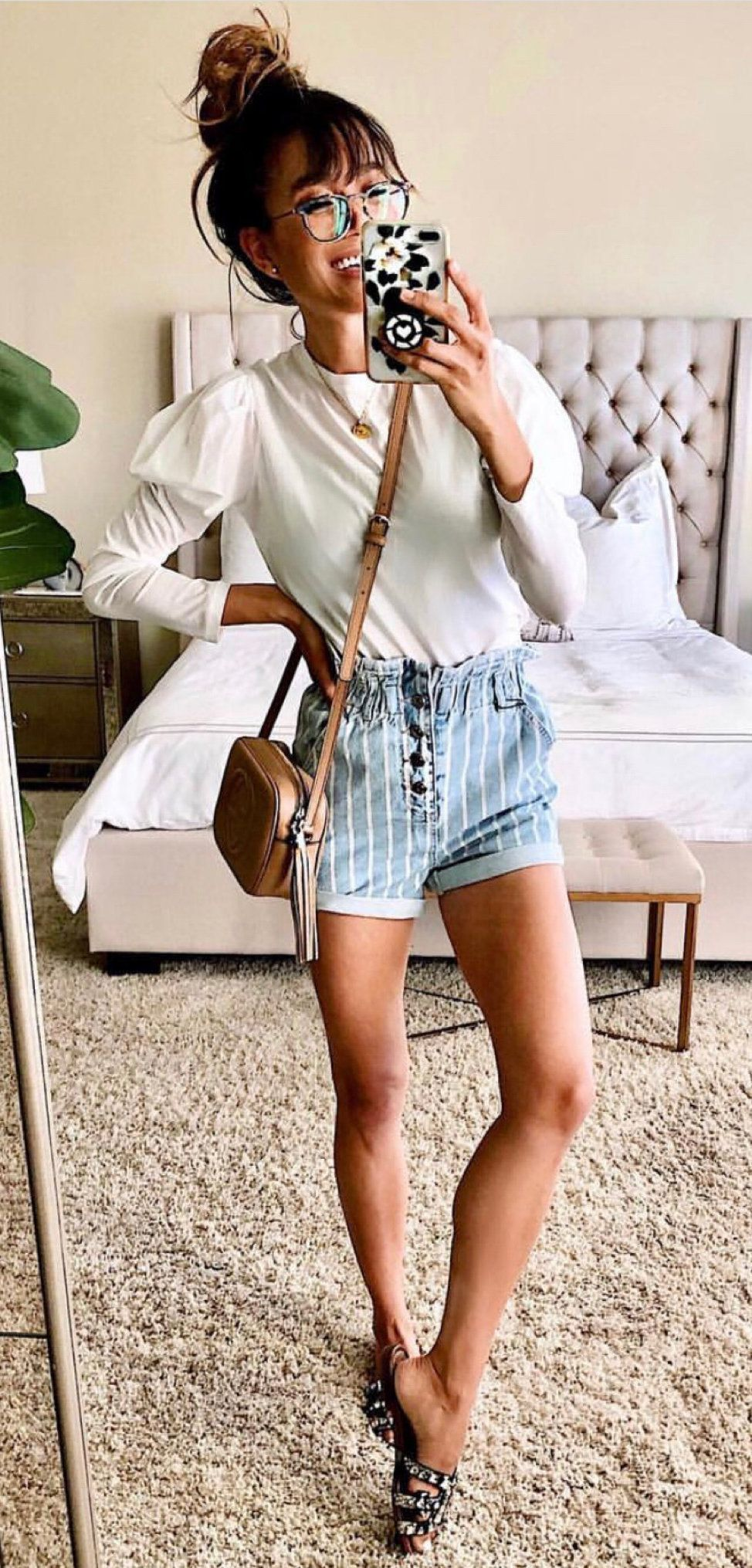 white crew-neck long-sleeved shirt #spring #outfits