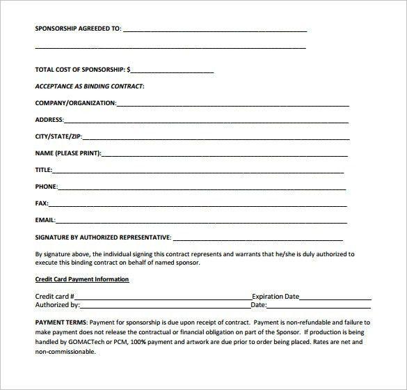 Race Car Sponsorship Contract Executive Profile For Sponsor - sponsorship contract template