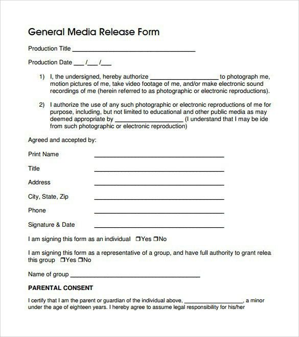 Sample Print Release Form Example photo copyright release forms - print release form