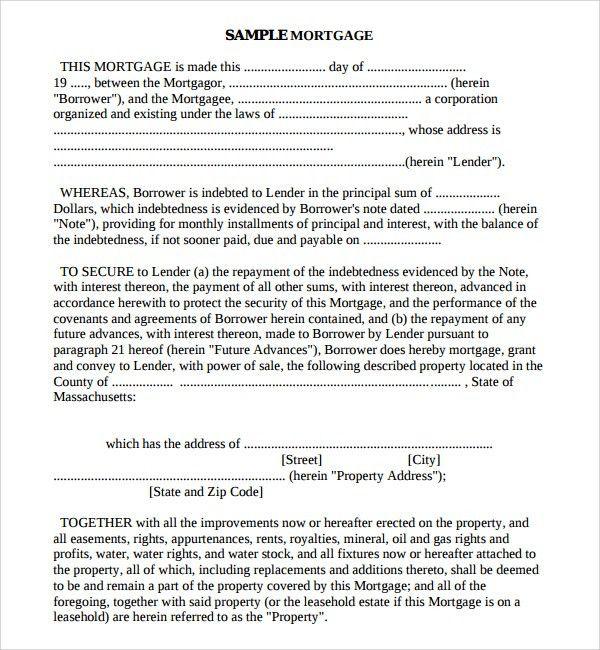 Mortgage Agreement Form 8 Subordination Agreement Form Samples   Agreement  Form Sample