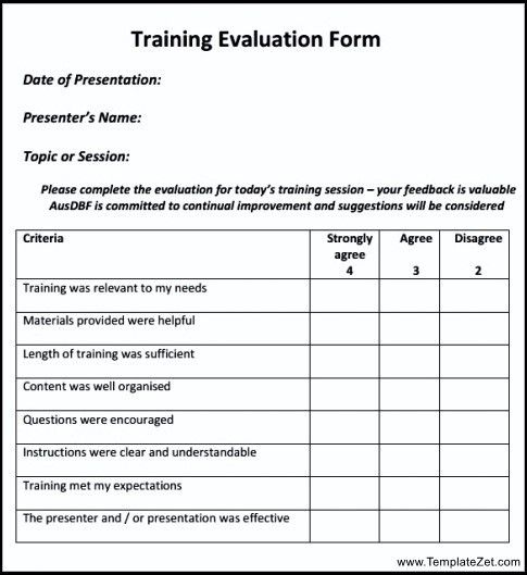 Training Feedback Template Training Evaluation Form 15 Download - training survey template