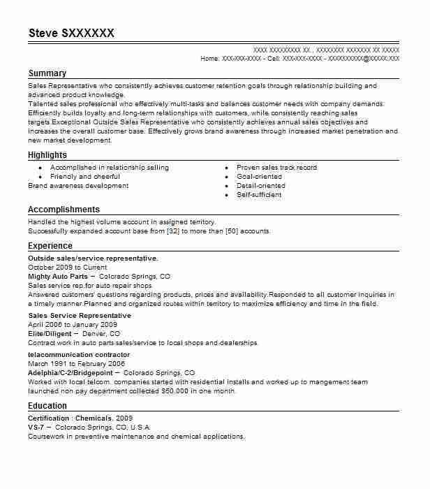 Outside Sales Resume Example - Examples Of Resumes