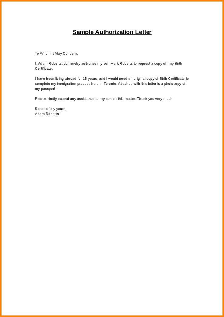 Authorization Memo Sample 10 Best Authorization Letter Samples - authorization letters sample