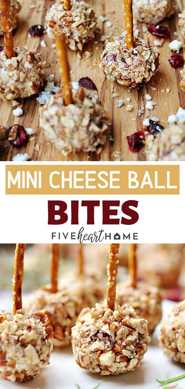 An easy appetizer idea for entertaining on your Christmas, New Year, or dinner parties! These Mini Cheese Ball Bites are studded with dried cranberries and blue cheese, rolled in pecans, and skewered with pretzel sticks. Save this delicious, creative, and easy holiday appetizer!