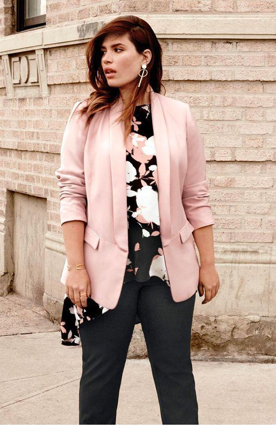 Printed top, black pants and light pink blazer