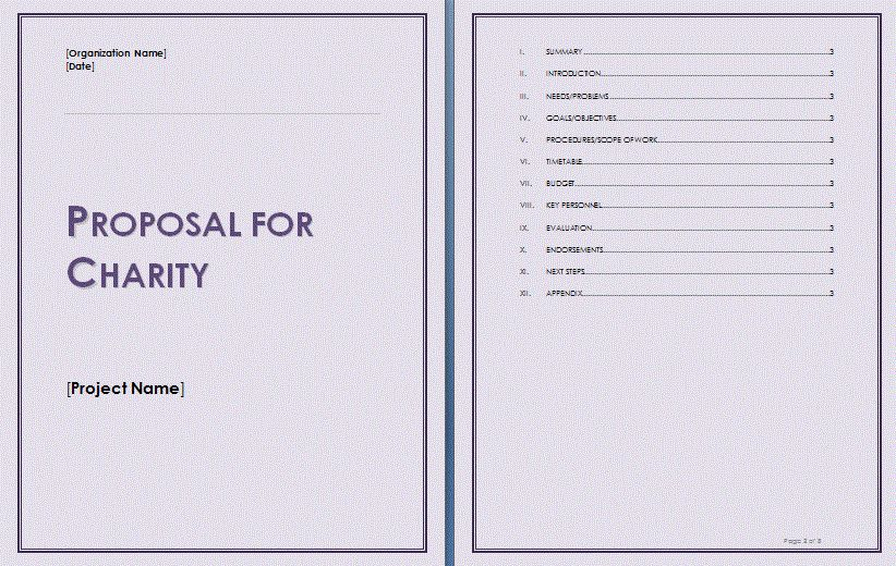 Charity Proposal Sample School Charity Proposal Template, Charity - funding proposal template