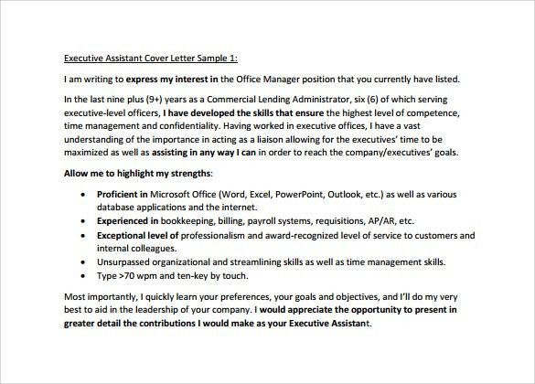 executive summary cover letters