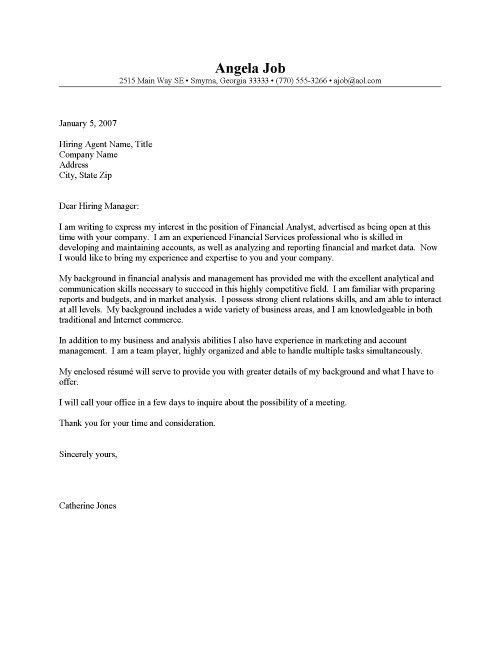 Cover Letter Examples Financial Analyst Analyst Cover Letter - sample financial analyst resume