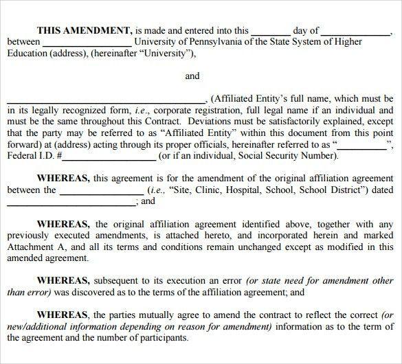 Sponsorship Agreement Form Sponsorship Agreement Template Sample - contract amendment template
