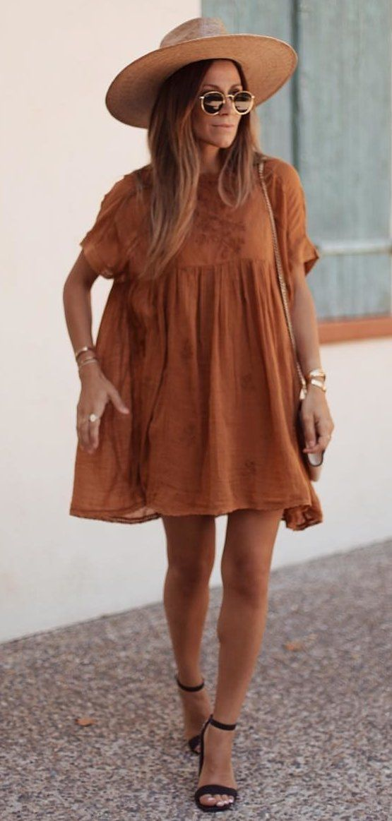 brown mini dress #spring #outfits
