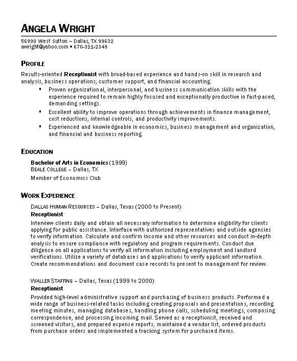 Dental Receptionist Resume Example - Examples of Resumes