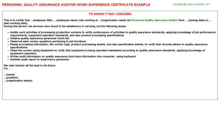... Assistant Auditor Cover Letter Unusual Audit Cover Letter 10   Quality  Auditor Cover Letter ...