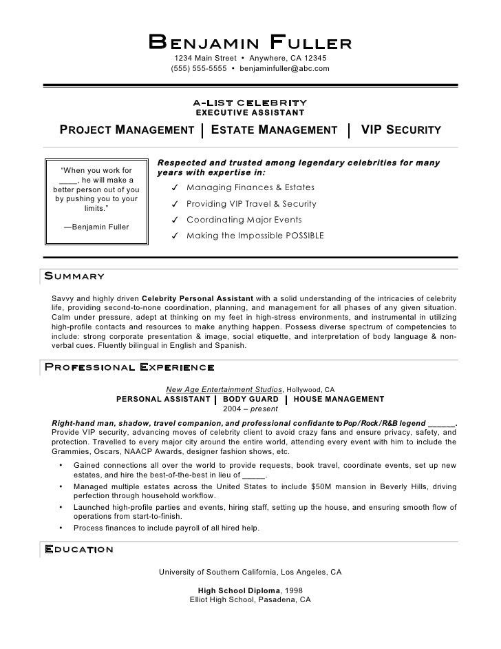 Personal Assistant Resume Example - Examples of Resumes