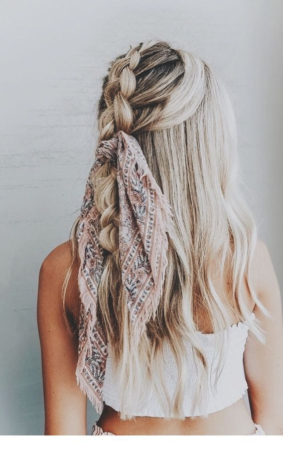 Cute large braid and scarf