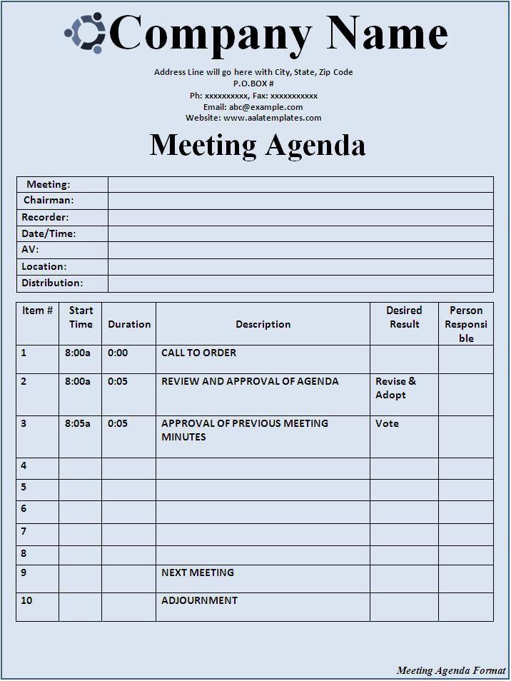 sample meeting agenda template word
