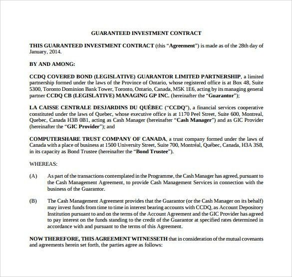 Investment Contract Agreement. Investors Agreement   Investor .  Investor Contract Template Free
