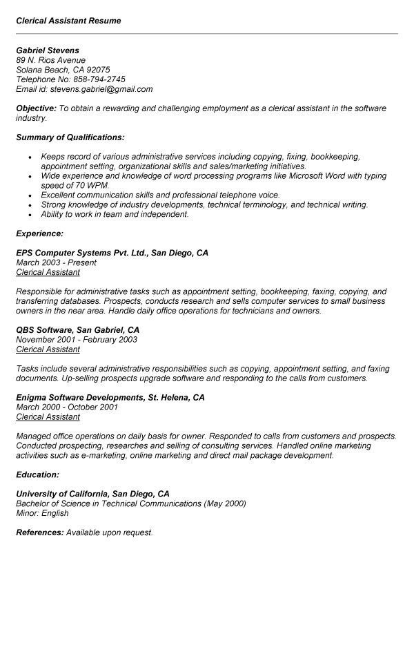 clerical aide sample resume clerical assistant resume samples
