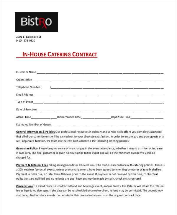 Simple Service Contract Simple Service Contract Sample 7 Examples - catering contract template