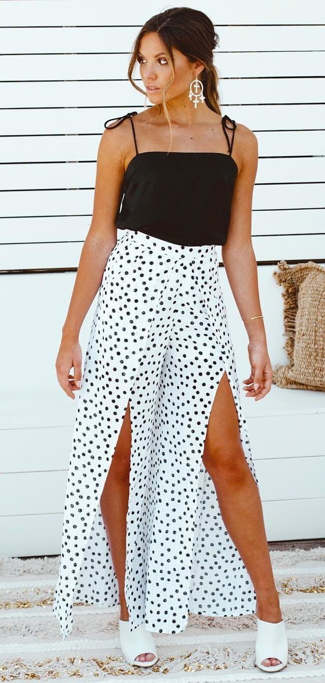 white and black polka dot pants #spring #outfits