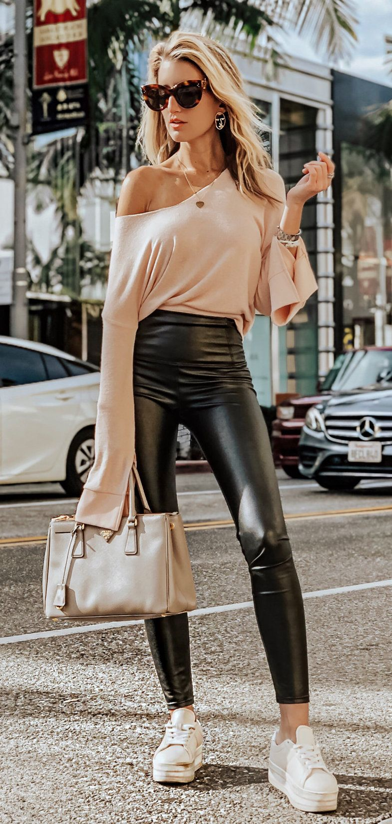 black leather pants #spring #outfits