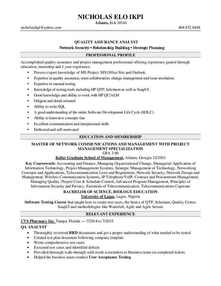 sample qa analyst resume