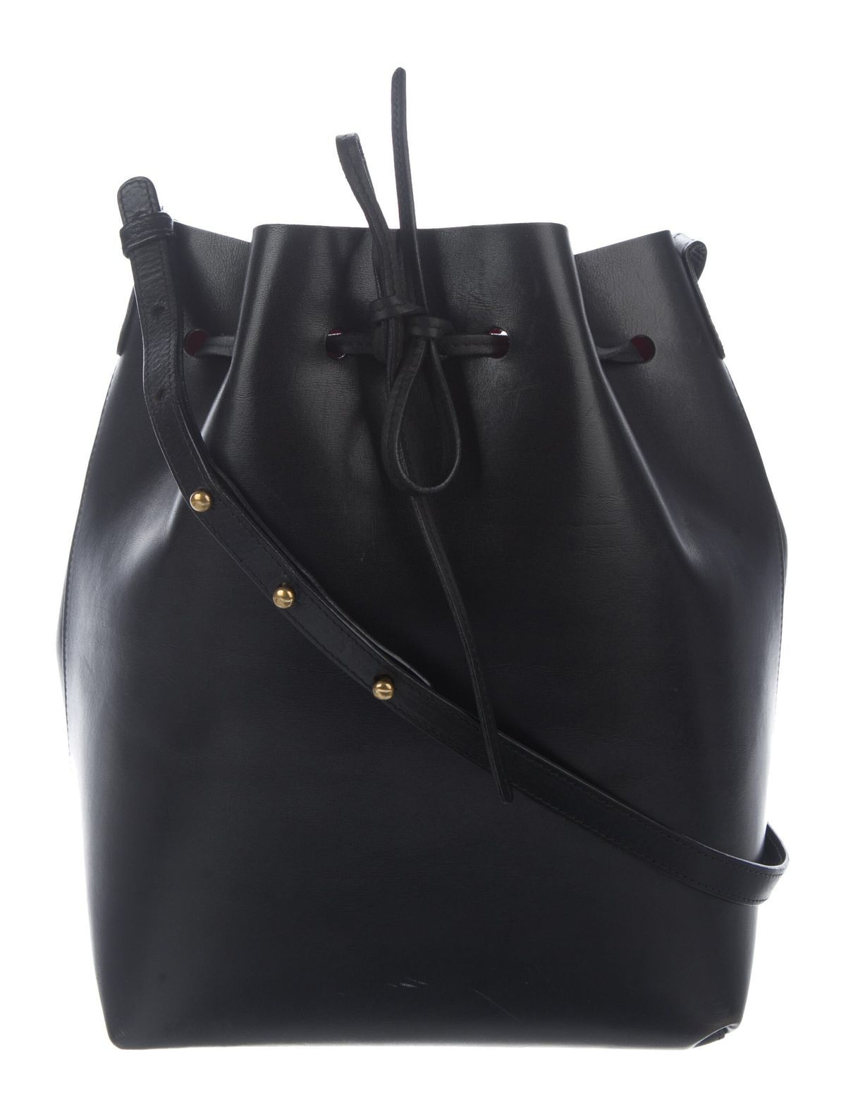the real real consigned Black vegetable-tanned leather Mansur Gavriel bucket bag with gold-tone hardware, adjustable flat shoulder strap, foil-stamped logo at front, Flamma matte patent leather interior and drawstring closure at top. Includes zip pouch