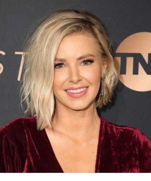 Blond short hair with burgundy dress