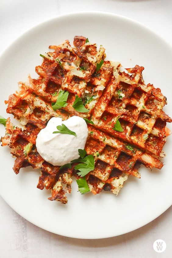 Cheesy cauliflower waffles: These latke-inspired vegetable cakes use convenient, low-carb cauliflower rice in place of potatoes, and they're cooked in a waffle maker for both speed texture—they end up wonderfully crispy. Shredded (or chopped) mozzarella cheese sticks help to bind the mixture and contribute to the crispy effect.