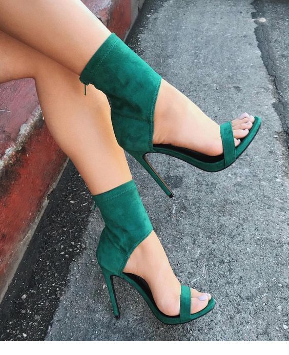 Awesome sandals on green