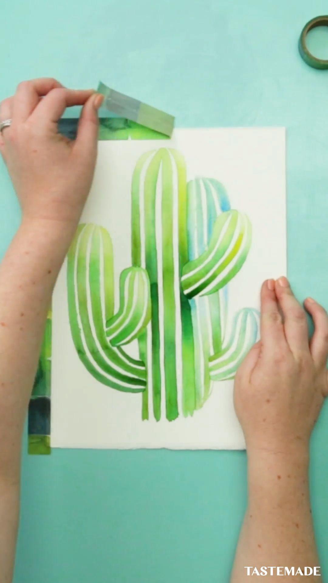 Watercolor Saguaro Cactus
