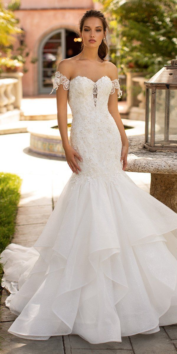 Moonlight Wedding Dresses: Fairytale Bridal Collection 2020 ❤ moonlight wedding dresses mermaid strapless sweetheart neckline lace ruffled skirt #weddingforward #wedding #bride