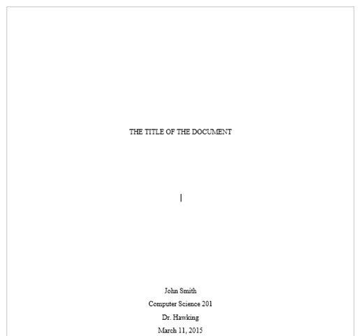 cover page for book report