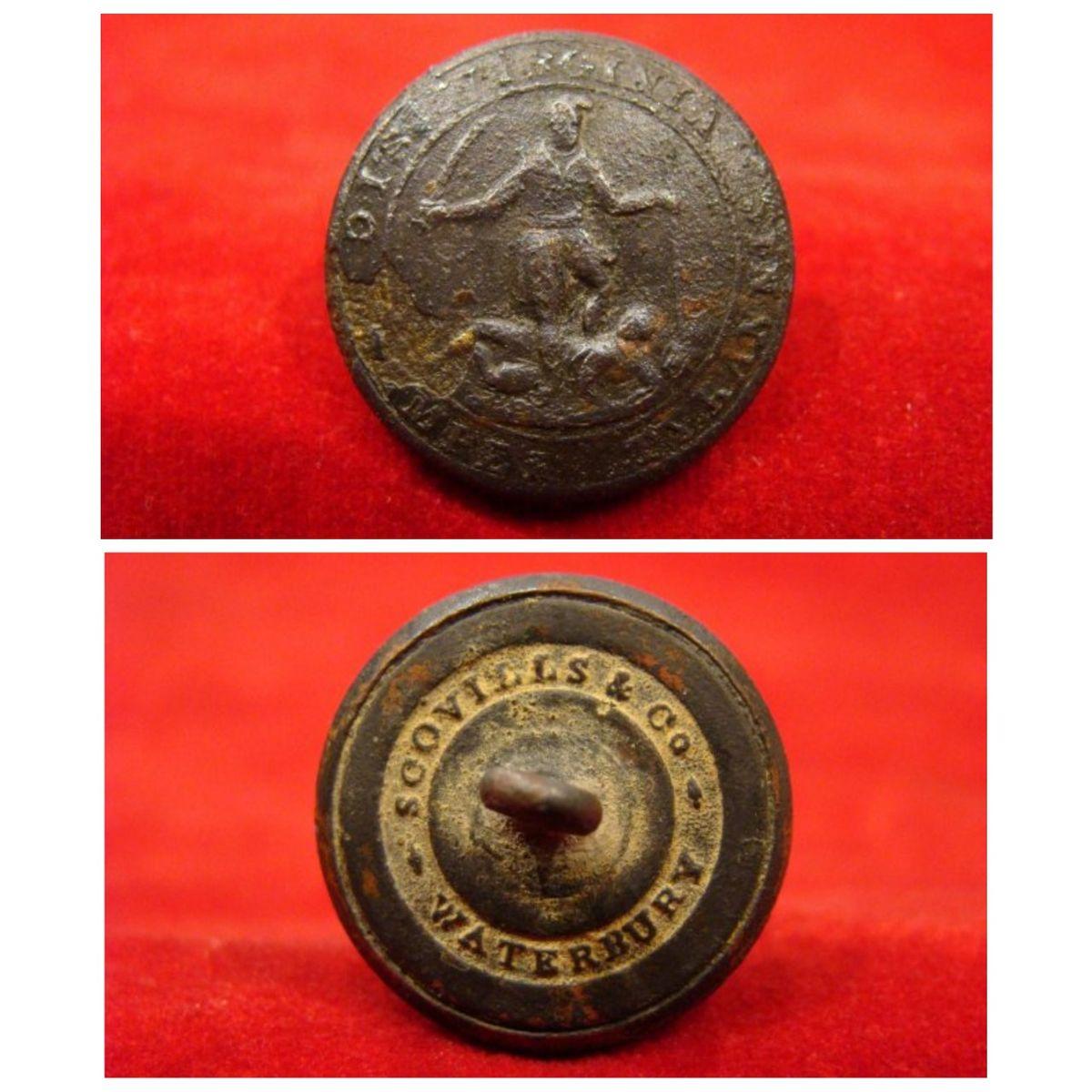 Virginia Militia Coat Button Va 4 23 Mm Nice Looking