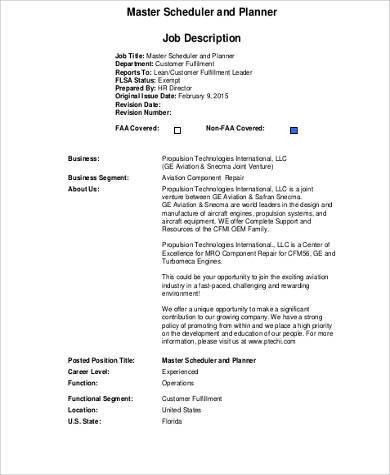 Planner Scheduler Job Description Project Scheduler Job - production supervisor job description