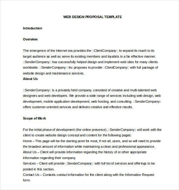 Website Design Proposal Template Word Sample Web Design Proposal - freelance proposal template
