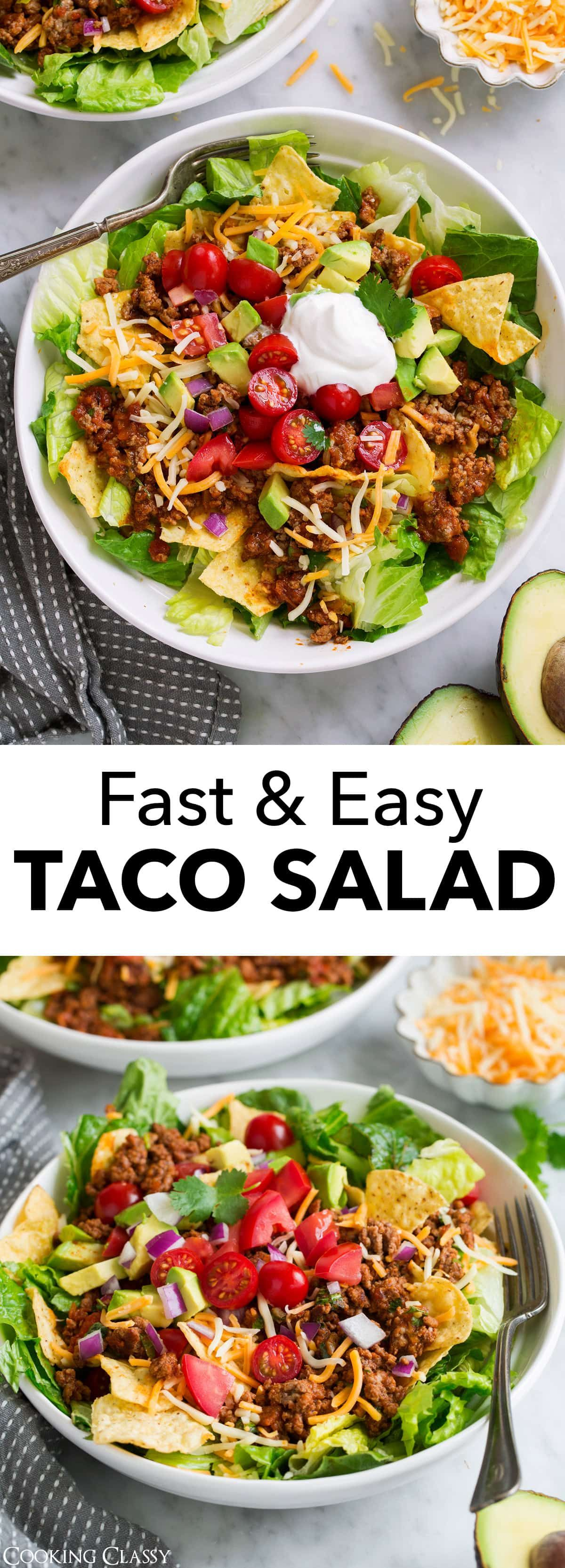 Taco Salad - this is quick, flavorful, hearty, a total breeze to make and it's a dinner everyone can agree on both young and old alike! It doesn't take much to make a satisfying meal and this simple salad is proof of that. This is a back pocket recipe you'll want to make on repeat! #easy #quick #tacosalad #beef #groundbeef #avocado #mexican #recipe #dinner #food