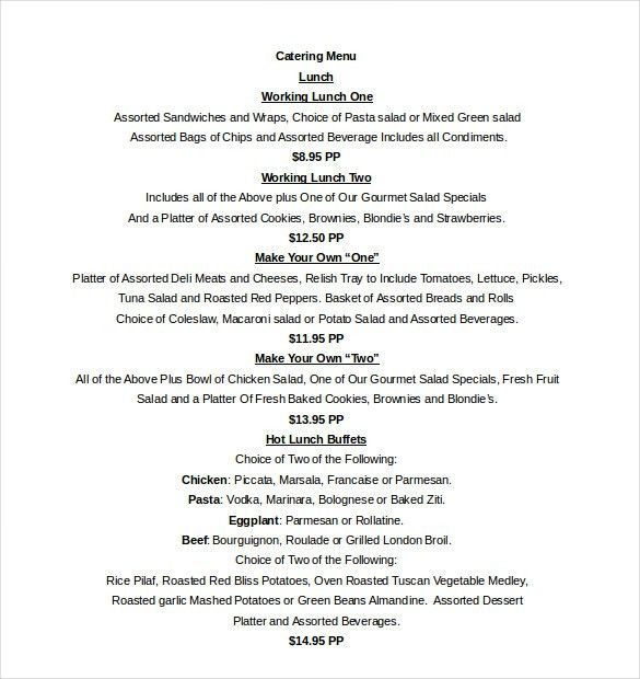 free catering menu templates