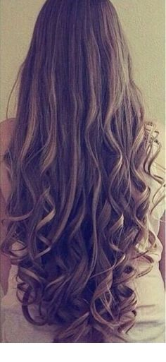 Very long curly hair style